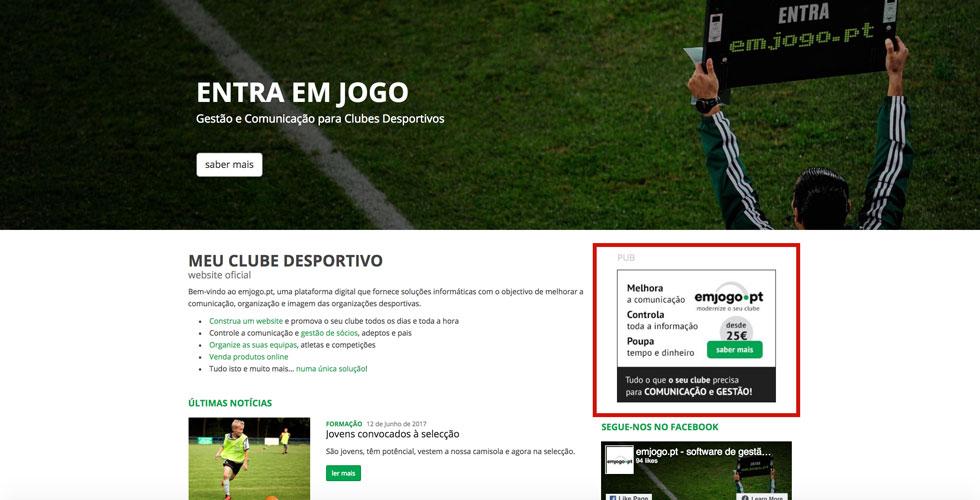 publicidade em website clubes desportivos